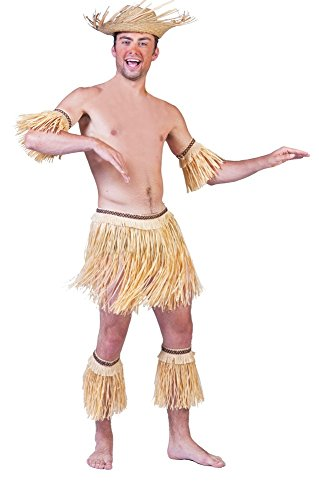 Hawaii Kostüm Set Natur 5-tlg. - Bastrock und Stulpen für Südsee oder Beachparty