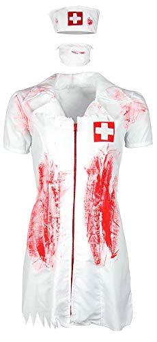 Kostüm Und Krankenschwester Patient - Foxxeo blutiges Halloween Zombie Krankenschwester Kostüm für Damen zu Fasching Karneval, Größe M