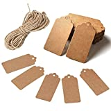 HAKACC 100pcs Kraft Paper Gift Tags with Free 100 Root Natural Jute Twine(Water Ripple)
