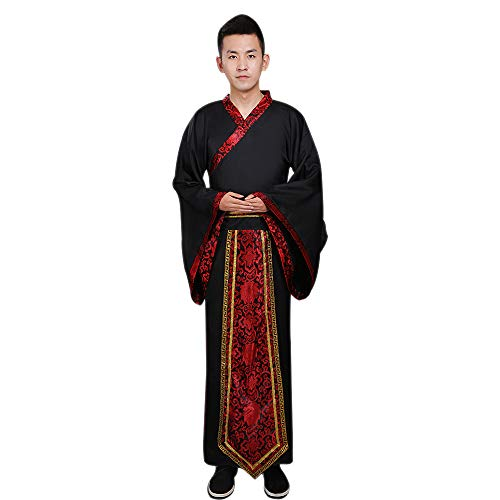 DAZISEN Herren Hanfu - Chinesischen Stil Altertümlich Traditionelle Kleidung Tang Anzug Minister Cosplay Performances Kostüm, Schwarz/3XL (Japan National Kostüm)