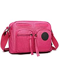 67aa8c0c80 Kono Women Multi Pocket Casual Handbag Travel Bag Messenger Cross Body Bag  Light Weight Waterproof Nylon