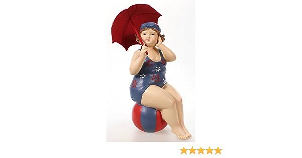 Badenixe im Badeanzug mit Flamingo Schwimmring 18 cm mollige Dame Dicke Frau
