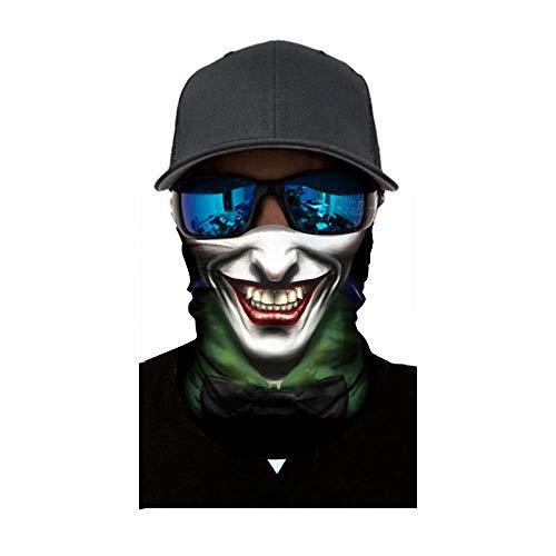 3D Balaclava Moto Pasamontañas Calavera Multifuncional Bufanda Prueba de Viento Microfibra Elástico Pañuelos Cabeza Bandana Esquí Ciclismo Bici Máscara Facial Protección UV (A #9)