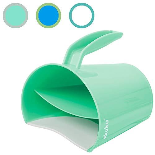 AKUKU Baby Spülbecher tränenfreies Haare waschen grün keine Seife Shampoo in Auge Ohr Augen- und Gesichts-Schutz Bade-tasse Spritz-Schutz Haarspül-Becher Bade-Becher Trichter Kanne -