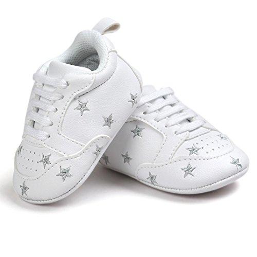 Clode® Bébé broderie Bandage souple semelle Chaussures enfant Sneakers chaussures occasionnelles (6~ 12 mois, Or) Argent