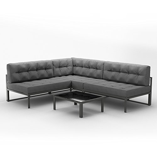 OSKAR Alu Lounge Gartenmöbel Set Inkl. Palettenkissen + Tisch Gartenlounge  Sitzgarnitur Sitzgruppe Grau