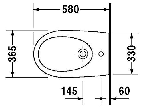 Duravit Wand Bidet Architec 570 mm, 1 Hahnloch, weiss WonderGliss, 25311500001