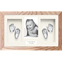 Anika-Baby Kit de moulage en plâtre pour pieds et mains de bébés jumeaux avec cadre boîte 3D en chêne massif et peinture argentée