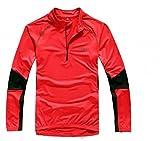 EOZY Herren Fahrradshirt Radshirt Radtrikot Fahrradtrikot Funktionsshirt Langarm Rot Büste:122cm