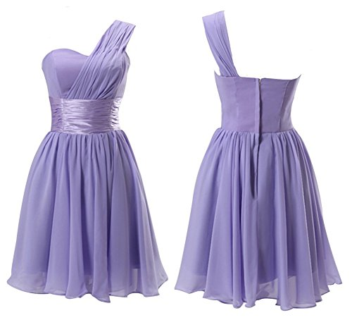 Drasawee Damen One-Shoulder Kleid Violett
