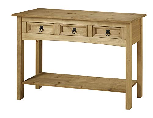 Mercers Furniture Corona Table Console 3 tiroirs, Bois, Cire Antique, 122 x  32 x 73 cm