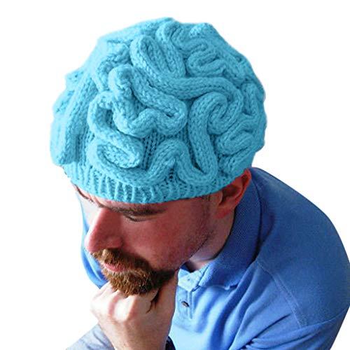 ZEELIY Halloween Kopfschmuck Parodie Hut Handgestrickte Persönlichkeit Gehirn Hut Kinder Erwachsene häkeln Beanie Cool Cerebrum Cap Dekoration