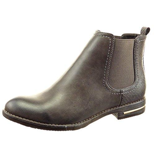 sopily-damen-mode-schuhe-stiefeletten-chelsea-boots-schlangenhaut-metallisch-grau-frf-4-f132-t-38