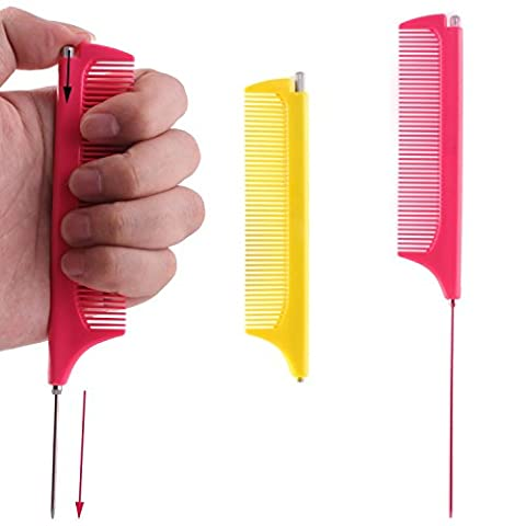 Retractable Metal Pin Tail Comb, Fine Tooth and Stainless Steel Pin Rattail Comb (Pack of 2)