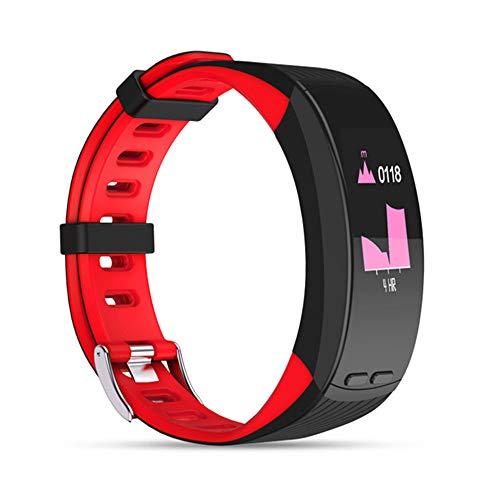 QUARKJK Professionelle GPS Sport Armband Smart Band Farbanzeige Pulsmesser Armband Barometer Aktivität Fitness Tracker,Red
