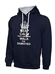 Keep Calm And Walk The Samoyed Navy Blue & Heather Grey Contrast Hoody