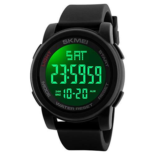 FunkyTop Herren Jungen Digital Uhren Männer LED Klassisch Dual Zeitanzeige Militär Uhr Wecker Kalender Sport Stoppuhr Tactical Watch Wasserdichte Armbanduhr für Herren (Schwarz)