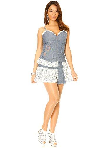 dmarkevous - Robe courte en jean bleu femme avec volant, zip sur l'avant et empiècement imprimé liberty Bleu