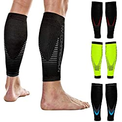 NV Compression Race and Recover Calentadores de Pantorrilla de compresión Negros - Compression Calf Sleeves - Sports Recovery, Work, Flight - Running, Cycling, Gym (Black/Red Stripes, S-M)