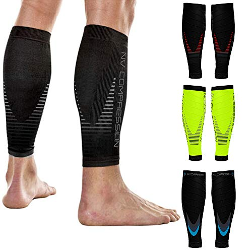 NV Compression Race and Recover Fußlose Kompressionsstrümpfe - Wadenstütze Kompression Compression Calf Sleeves - for Sports, Laufen, Radfahren, Crossfit, Gym, Tennis (Black/Red Stripes, S-M)