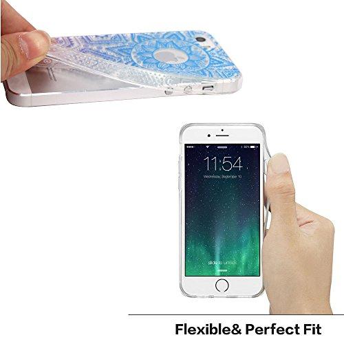 JIAXIUFEN Neue Modelle TPU Silikon Schutz Handy Hülle Case Tasche Etui Bumper für Apple iPhone 5 5S SE - Blue Purple Tribal Mandala Color13