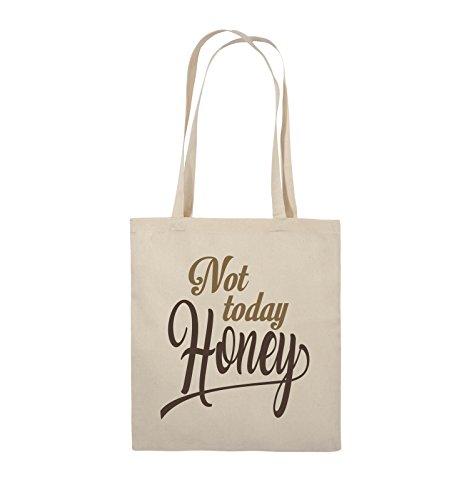 Comedy Bags - Not today Honey - Jutebeutel - lange Henkel - 38x42cm - Farbe: Schwarz / Weiss-Neongrün Natural / Hellbraun-Dunkelbraun