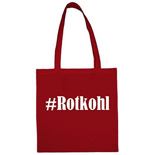 Tasche #Rotkohl Größe 38x42 Farbe Rot Druck Weiss