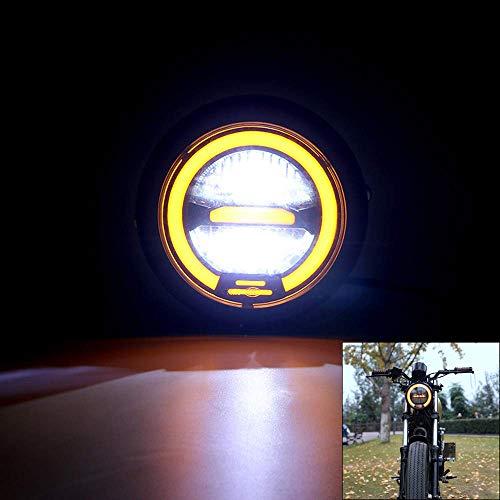 Yiwa 6.5 Pouces métal LED rétro Moto Phare Universal Cafe Racer Moto Vintage LED Phare lumière Jaune