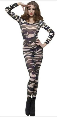 Dress Catsuit Fancy (Sexy Damen Leopard, Zebra, Tiger Camo Dance Lace Bodystocking Catsuit Fancy)