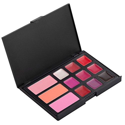 Vococal® 2 en 1 Palette de Maquillage 9 Couleurs Lip Gloss à Lèvres 3 Couleurs Fard à Joues
