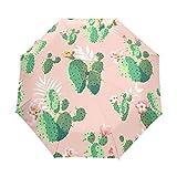 Paraguas Originales Plegables Con Cierre Automático En Rosa y Cactus Verdes
