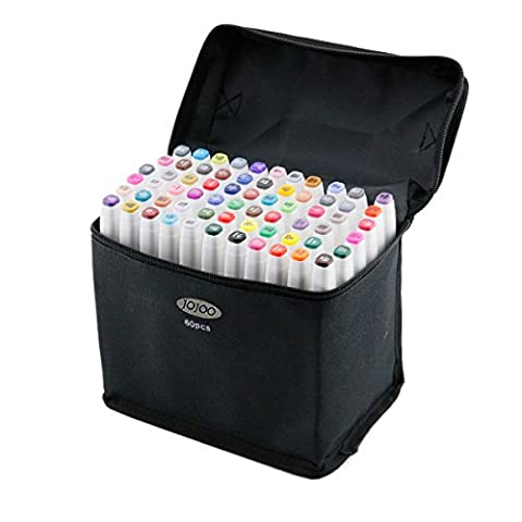 [nouvelle version] jojoo 60couleurs Art Sketch marqueurs Multi Couleurs Double-end Sketch Graphic stylo marqueurs double pointe marqueurs avec stylo Sac