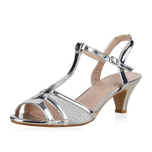 SCARPE VITA Damen Sandaletten Riemchensandaletten Metallic Schuhe Stiletto Kitten Heels Elegante Glitzer Absatzschuhe 183250 Silber Metallic 40 Metallic-stiletto Heel