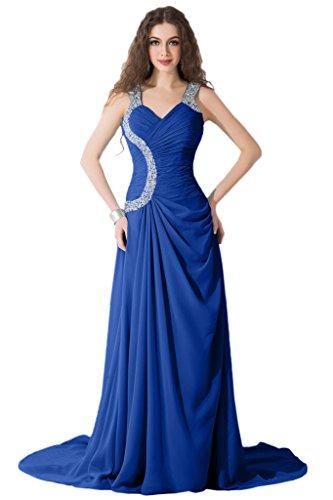Sunvary Neu Abendkleider 2015 Lang Brautjungfernkleider Chiffon Ballkleider Partykleider Royalblau