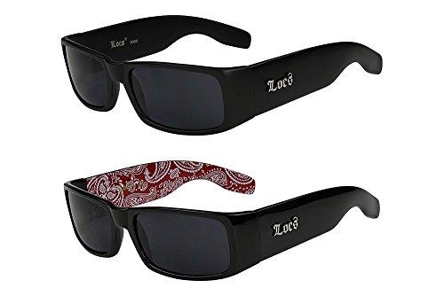 2er Pack Locs 9006 X05 Sonnenbrillen Unisex Herren Damen Männer Frauen Brille - 1x Modell 02 (schwarz matt / schwarz getönt) und 1x Modell 06 (schwarz glänzend - Bandana-Design rot / schwarz getönt)