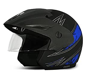 Vega Cruiser CR-W/P-ARS-DKMB-L Open Face Graphic Helmet (Dull Black and Blue, L)