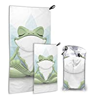 JOCHUAN Funny Tree Frog Meditation Yoga Frog 2 Pack Microfiber Bathroom Beach Towels Girl Beach Towel Set Fast Drying Best For Gym Travel Backpacking Yoga Fitnes
