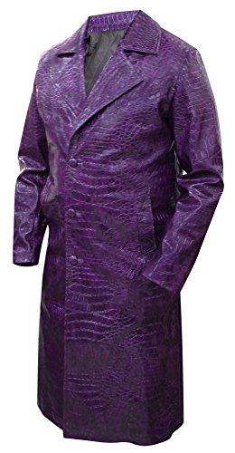 Suicide Squad Jared Leto Joker Herrenmantel, Kunstleder, Violett Gr. L, violett (Der Joker Kostüm Jared Leto)