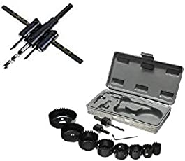 Holesaw set combo of 11pcs hole saw set (19-64mm) and 1 adjustable hole saw set 30mm - 120mm for cutting circular shapes in wood