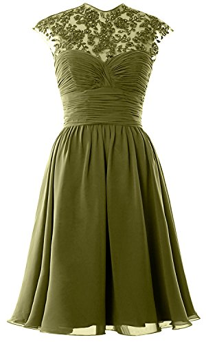 Women High Neck Cap Sleeve Lace Short Bridesmaid Dress Wedding Party Ball Gown Olive Green