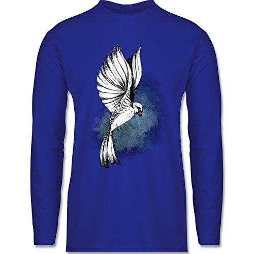 Shirtracer Vögel - Vogel Aquarelle Zeichnung - Herren Langarmshirt Royalblau