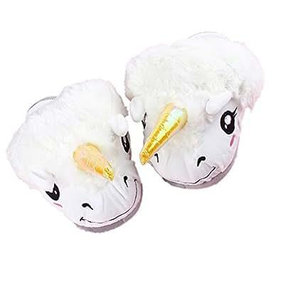 cute winter cotton fantasy unicorn plush slippers for. Black Bedroom Furniture Sets. Home Design Ideas