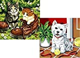 MnZ Doppelset - Katzen&Hund je 24x24cm