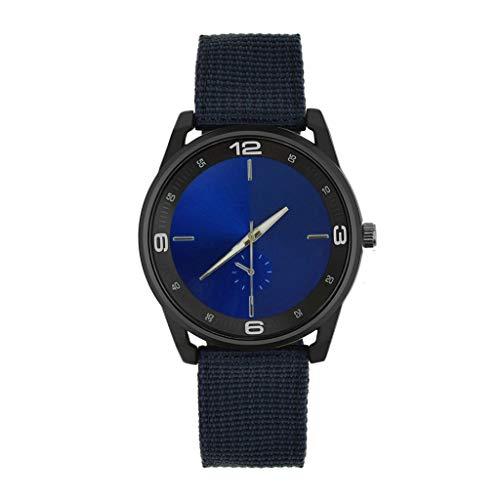 IG Invictus Mann Uhr Retro Entwurfs Nylonband analoge Legierungs Quarz Armbanduhr Vintage Herrenuhr mit Nylonarmband ZYB 5 Blaue Retro Männer Nylon Uhr