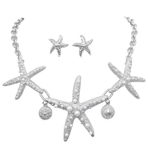 Gypsy Jewels Halskette und Ohrstecker, Seestern-Design, mit Kunstperlen, strukturiert, silberfarben (Halskette Jewel Chunky)
