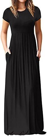 Fankle Women's Casual Short Sleeve Plain Maxi Long Dress with Poc