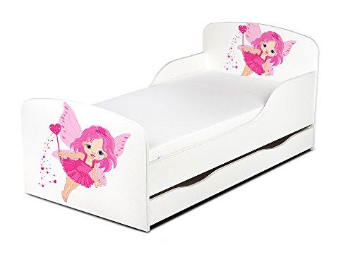 Leomark KINDERBETT 140x70 mit Schublade Funktionsbett Einzelbett mit Matratze Motiv: Gute Fee Sehr Einfache Montage, Bettkasten Kleinkind Bett Tinkerbell