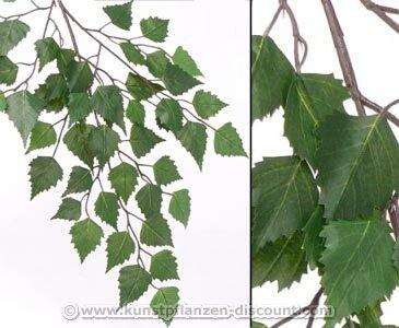 Waldbaum Birken Dekozweig mit 48 grünen Blättern und einer Gesamtlänge inkl. Stiel...