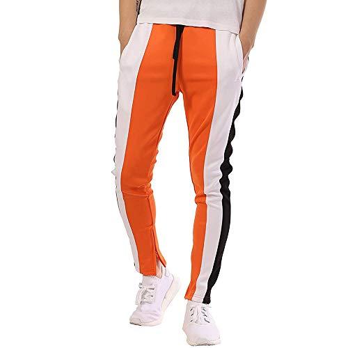 Geili Sporthose Herren Lang Mode Männer Kontrastfarbe Sport Fitness Hose Kordelzug Skinny Jogginghose Trainingshose Freizeithose M-3XL -