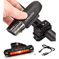 Cycleafer® USB Rechargeable Bike Light Set Super POWERFUL Lumens Bicycle Headlight Water Resistance - LED Front & Back Rear Lights Cycling Mountain Flashlight - 3 YEAR WARRANTY & UK COMPANY